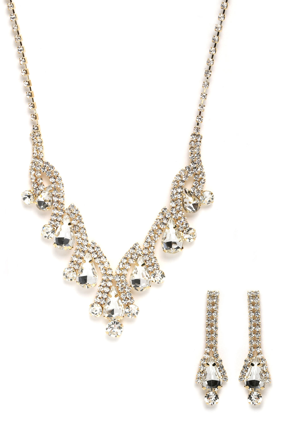 Bella Earring And Necklace Set - Gold