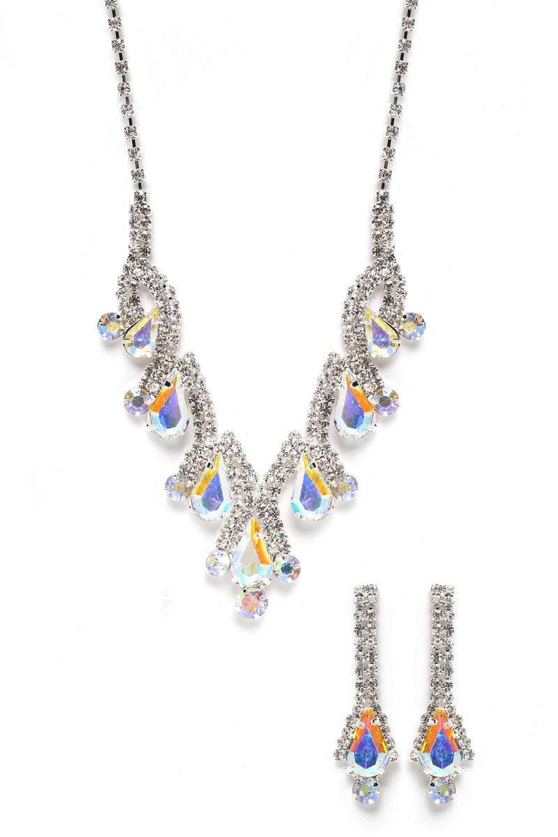 Bella Earring And Necklace Set - Silver/Multi