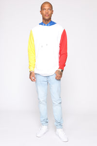Trenton Color Blocked Hoodie - White/Multi