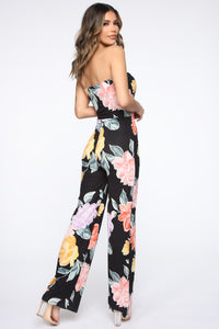 Feeling Floral Tube Jumpsuit - Black/Combo