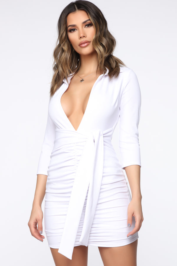 e34c15d9d38fa Tied Into The Details Mini Dress - White