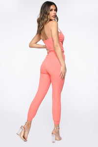 I'm Into Convenience Jogger Jumpsuit - Coral