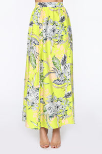 Take Me All The Way Maxi Skirt - Neon Green
