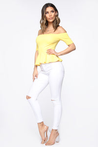 Maria Peplum Top - Yellow
