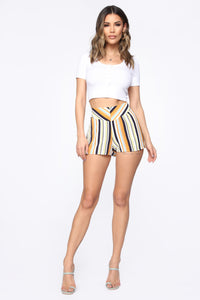 Kiara High Rise Print Shorts - Ivory/Multi Angle 4