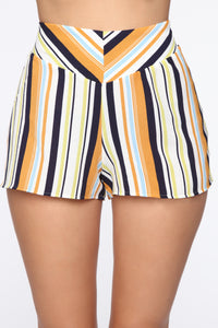 Kiara High Rise Print Shorts - Ivory/Multi Angle 1