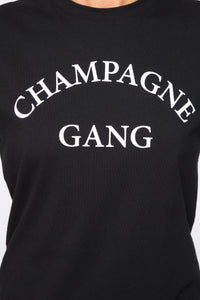 Champagne Gang Tunic Top - Black