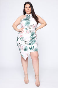 Hawaiian Jam Tropical Midi Dress - Pink/combo