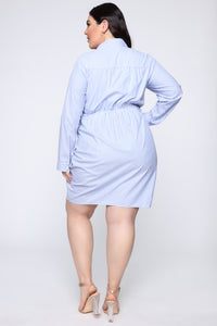 Anchors Away Shirt Dress - White/Blue