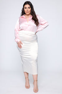 Smooth Talkin' Button Down Top - Pink Angle 6