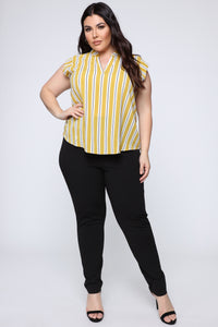 Busy Boss Lady Top - Mustard