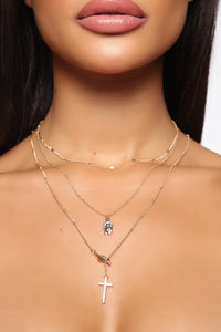 Dainty Cross Layered Necklace - Gold Angle 1