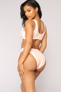 Madrid Striped Bikini Set - Coral