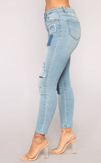 Patty Patch Ankle Jeans - Medium Blue Wash