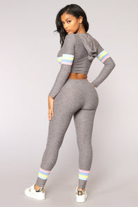 Soni Stripe Lounge Set - Heather Grey