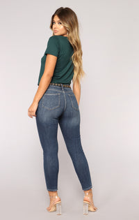 Dalia Distressed Ankle Jeans - Dark Denim