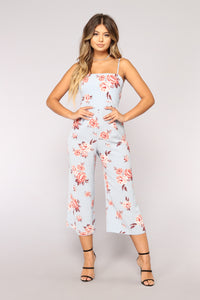 Jumping Ship Floral Jumpsuit - Light Blue