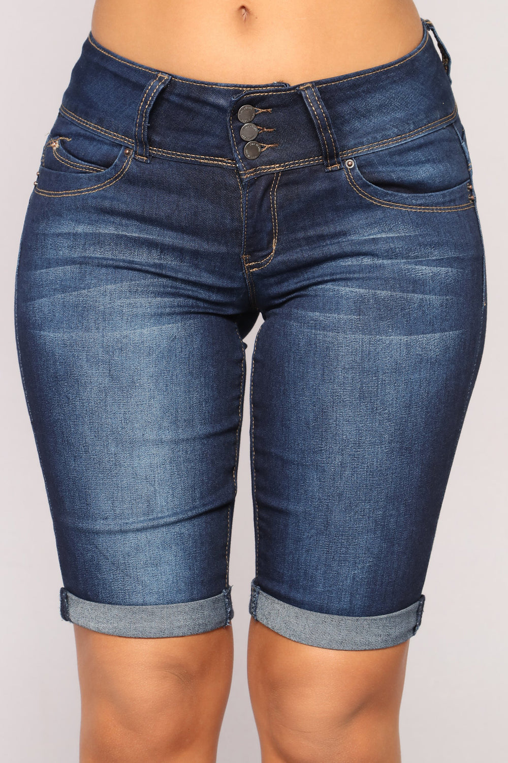 From The Ground Up Denim Bermudas - Dark Denim