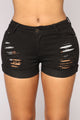 Panther Distressed Denim Shorts - Black