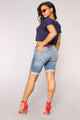 Call Me Crazy Denim Bermudas - Medium Blue Wash