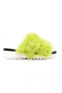 Camille Fur Slides - Lime