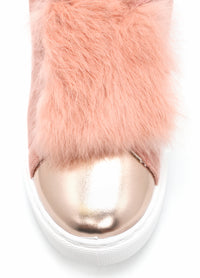 Chiava Fur Slip On Sneaker - Blush
