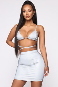 Can't Hide Reflective Skirt Set - Silver Angle 3