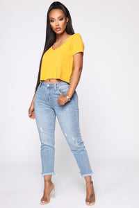 Carrie V Neck Top - Mustard