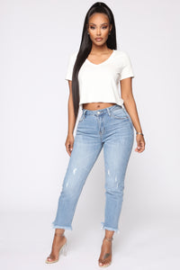 One More Time Distressed Ankle Jeans - Light Wash