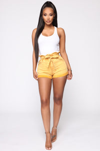 Good Girl Paperbag Waist Shorts - Mustard