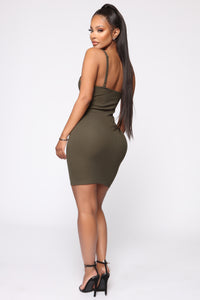 In A Snap Ribbed Mini Dress - Olive