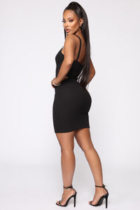 In A Snap Ribbed Mini Dress - Black Angle 3