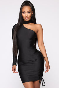Better On This Side Ruched Mini Dress - Black