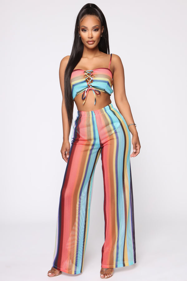 b74410d08333 Feeling The Breeze Pant Set - Multi Color