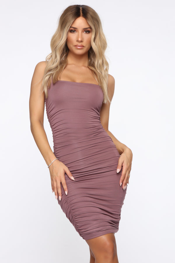 010a0b82720 Ruche To The Dance Floor Midi Dress - Dark Mauve