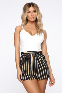 Day In The Park Stripe Romper - Black/Mustard