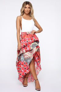 Dream In Color Maxi Skirt - Red/combo