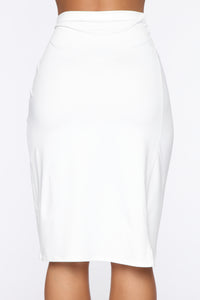 Take Me To Paradise High Rise Midi Skirt - White