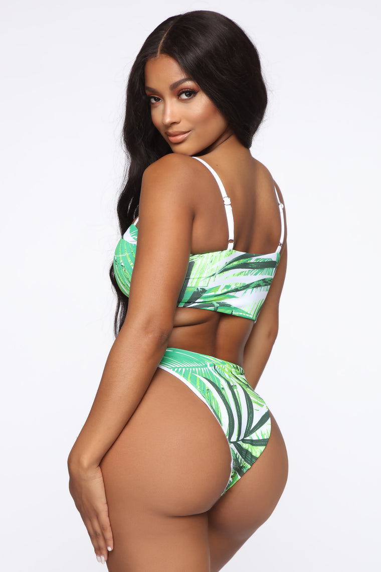 Make A Splash Lace Up Bikini - Green Print