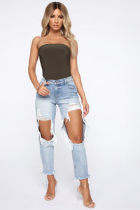 No Tears Left Distressed Boyfriend Jeans - Medium Blue Wash Angle 1