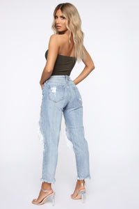 No Tears Left Distressed Boyfriend Jeans - Medium Blue Wash Angle 5
