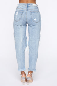 No Tears Left Distressed Boyfriend Jeans - Medium Blue Wash Angle 6