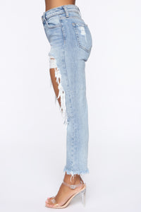 No Tears Left Distressed Boyfriend Jeans - Medium Blue Wash Angle 4