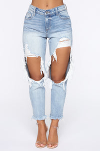 No Tears Left Distressed Boyfriend Jeans - Medium Blue Wash Angle 2