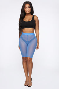 See Me Now Ruched Biker Shorts - Blue Angle 3