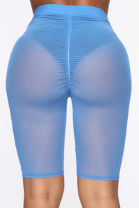 See Me Now Ruched Biker Shorts - Blue Angle 6