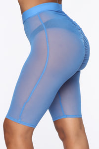 See Me Now Ruched Biker Shorts - Blue Angle 4