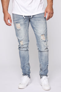 Teek Racing Stripe Skinny Jeans - MediumWash