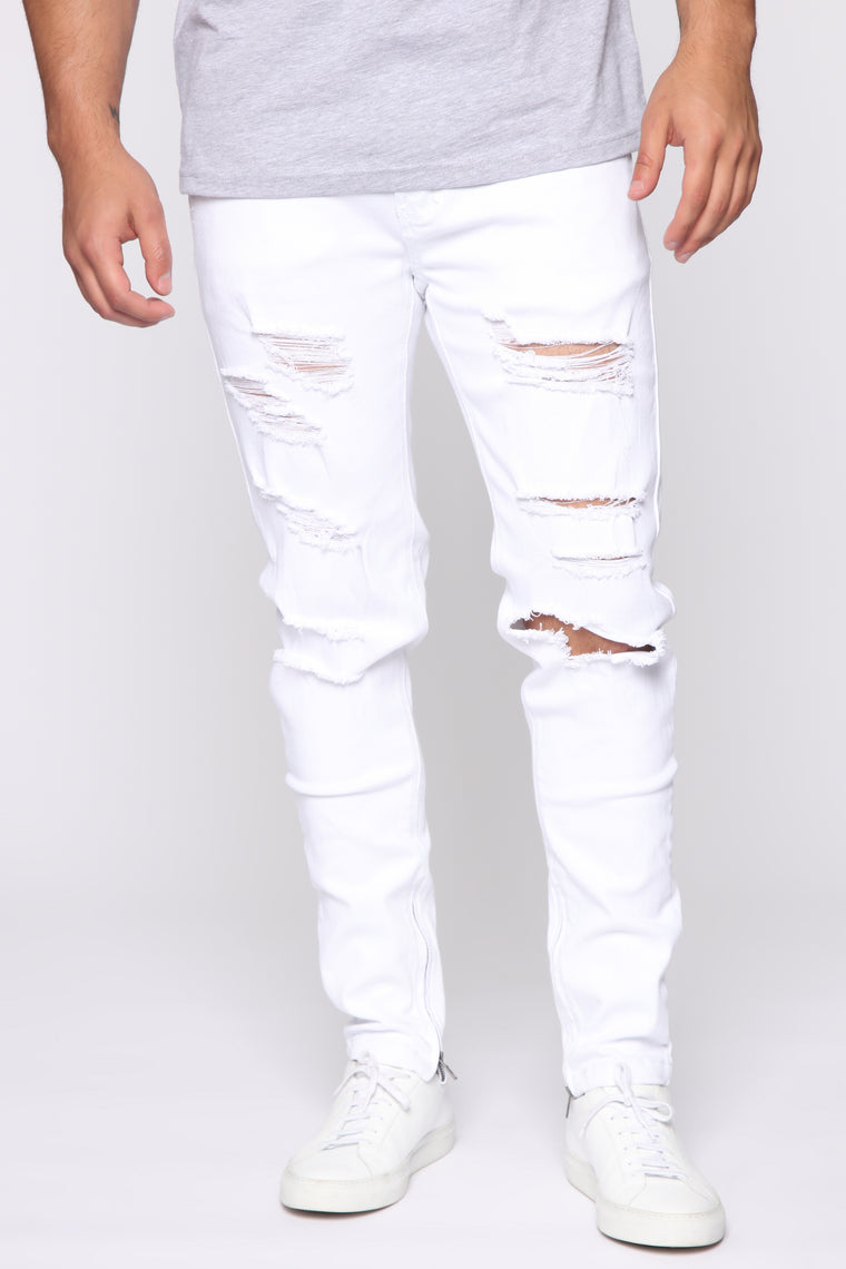 Concession cough Star  Crater Skinny Destroyed Jeans - White – Fashion Nova