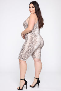 Sneak Up On You Snake Print Biker Romper - White/Combo